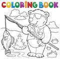 Coloring book bear fisherman theme 1 Royalty Free Stock Photo