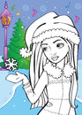 Coloring Book Of Beautiful Girl Catches Snowflake