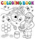 Coloring book with beekeeper Royalty Free Stock Photo
