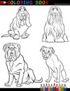 Coloring book black white cartoon illustration cute purebred dogs Stock Images