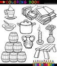 Coloring book black white cartoon illustration different objects Royalty Free Stock Images