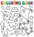 Coloring book with boy and kite Royalty Free Stock Photo