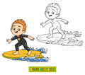 Coloring book. A boy riding a surf Royalty Free Stock Photo