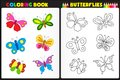 Coloring book butterflies nature page for kids with colorful Royalty Free Stock Photos