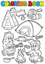 Coloring book with camping theme Stock Images