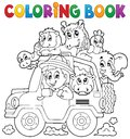 Coloring book car traveller theme eps vector illustration Royalty Free Stock Images