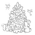 Coloring book. Cartoon animals decorate the Christmas Tree. Royalty Free Stock Photo