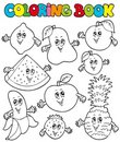 Coloring book with cartoon fruits 1 Stock Images