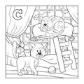 Coloring book cat colorless alphabet for children letter c Royalty Free Stock Photos