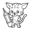 Coloring book, cat with a pencil