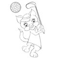 Coloring book cat playing golf. Cartoon style.