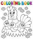 Coloring book chicken theme eps vector illustration Stock Photography