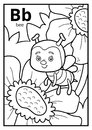 Coloring book, colorless alphabet. Letter B, bee