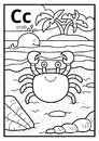 Coloring book, colorless alphabet. Letter C, crab Royalty Free Stock Photo