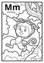 Coloring book, colorless alphabet. Letter M, monkey