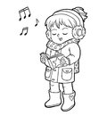 Coloring book, Girl singing a Christmas song