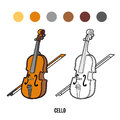 Coloring book for children: musical instruments (cello) Royalty Free Stock Photo