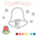Coloring book with Christmas bell and hand drawn snowman. Winter scene in  illustration. Royalty Free Stock Photo