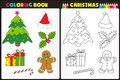 Coloring book christmas nature page for kids with colorful objects Royalty Free Stock Photo