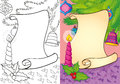 Coloring Book Of Christmas Scroll With Candle Royalty Free Stock Photo