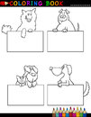 Coloring book coloring page black white cartoon illustration funny purebred mongrel dogs boards cards Stock Photography