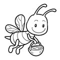 Coloring book, coloring page with a small bee