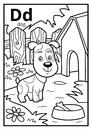 Coloring book, colorless alphabet. Letter D, dog