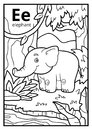 Coloring book, colorless alphabet. Letter E, elephant Royalty Free Stock Photo