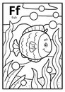 Coloring book, colorless alphabet. Letter F, fish