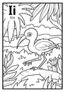 Coloring book, colorless alphabet. Letter I, ibis