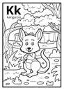 Coloring book, colorless alphabet. Letter K, kangaroo