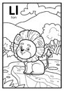 Coloring book, colorless alphabet. Letter L, lion
