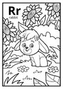 Coloring book, colorless alphabet. Letter R, rabbit