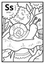 Coloring book, colorless alphabet. Letter S, snail