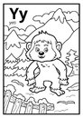 Coloring book, colorless alphabet. Letter Y, yeti