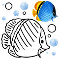 Coloring book coral reef fauna. Cartoon fish illustration for kid Entertainment