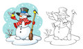 Coloring book. Cute snowman with broom and two birds. Royalty Free Stock Photo