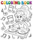 Coloring book DJ girl