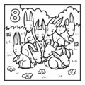 Coloring book, Eight rabbits