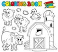 Coloring book with farm animals 1 Stock Photos