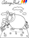 Coloring book, farm pig Stock Photos