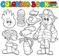Coloring book firefighter collection Royalty Free Stock Photo