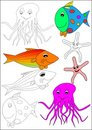 Coloring book-fish Royalty Free Stock Photos