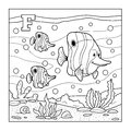 Coloring book fish colorless alphabet for children letter f chidren Stock Photography