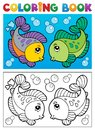 Coloring book with fish theme 2 Royalty Free Stock Images