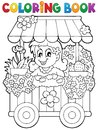 Coloring book flower shop theme 1 Stock Images