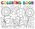 Coloring book with flower theme Royalty Free Stock Image