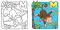 Coloring book of funny monkey on lians alphabet m picture or little near the palm Royalty Free Stock Image
