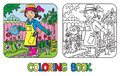 Coloring book of funny woman gardener.
