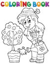 Coloring book gardener theme eps vector illustration Stock Photo